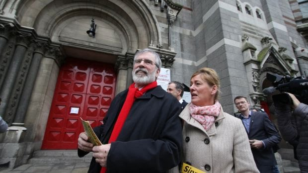 """Cllr Máire Devine (pictured above with former party president Gerry Adams) apologised to Fine Gael's Danny Byrne on Monday for saying on April 12th that he """"need[s] psychological help"""". File photograph: Nick Bradshaw"""